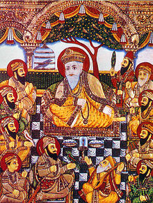 Guru Nanak with Bhai Bala, Bhai Mardana and Sikh Guru