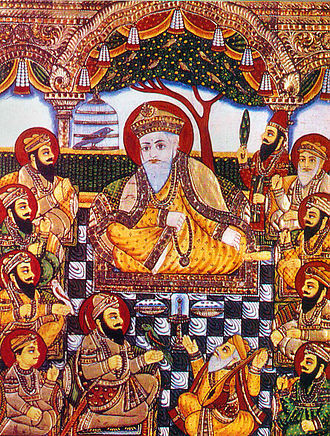 Sikhism - A rare Tanjore-style painting from the late 19th century depicting the ten Sikh Gurus with Bhai Bala and Bhai Mardana