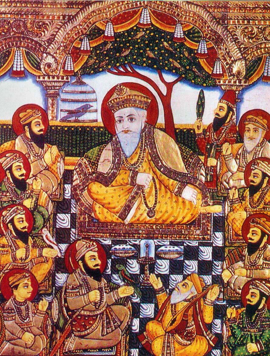 Guru Nanak with Bhai Bala, Bhai Mardana and Sikh Gurus