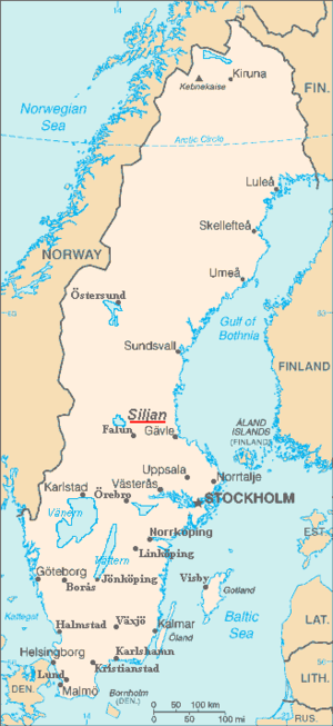 Siljan (lake) - Map of Siljan in Sweden
