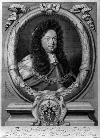 George Treby (judge) - Sir George Treby (1643–1700), engraving dated 1700 by Robert White (1645–1703). National Portrait Gallery, London, NPG 638