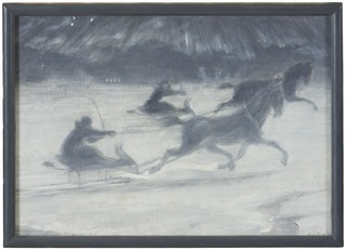 Sleighing on the Ice. Illustration for a Short Story by Per Hallström