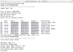 Screenshot of Sleuthkit on OSX