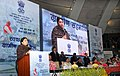Smriti Irani addressing at the inauguration of the National convention on Swachh Ganga – Gramin Sahbhagita, in New Delhi. The Union Ministers, Sushri Uma Bharti, Shri Nitin Gadkari, Shri Chaudhary Birender Singh.jpg