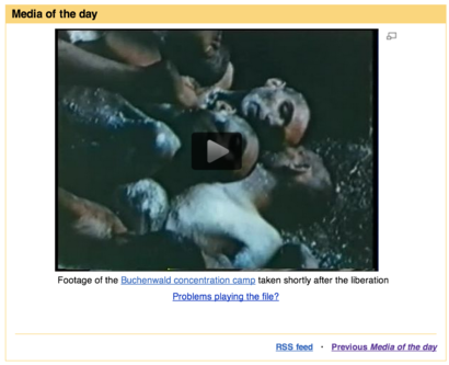 Snapshot of Buchenwald video as MOTD May 8, 2014, frozen frame on dead bodies