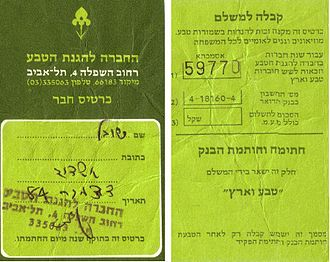 Society for the Protection of Nature in Israel - SPNI member card with Iris logo