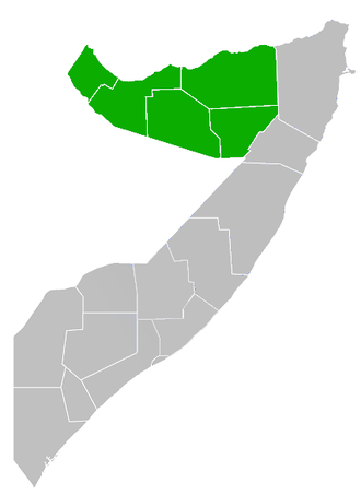 Telecommunications in Somaliland - Location of Somaliland in green and Somalia in grey