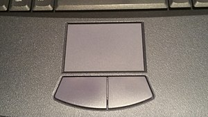Touchpad - A touchpad on an early-2000s-era Sony Vaio laptop, an early example of a modern laptop touchpad.