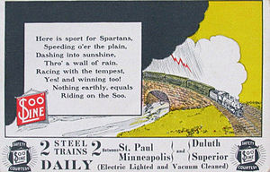 Minneapolis, St. Paul and Sault Ste. Marie Railroad - A postcard ad for the railroad's service between Minneapolis/St. Paul and Duluth/Superior circa 1910.