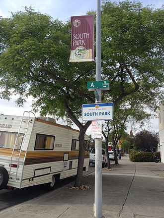 South Park, San Diego - South Park boundary sign at 30th/Fern and A