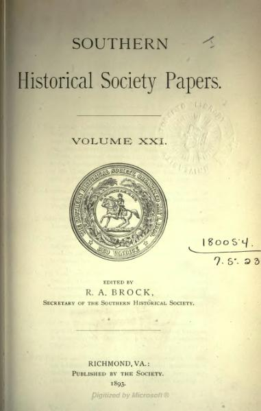File:Southern Historical Society Papers volume 21.djvu