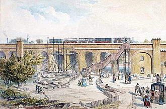 Spa Road railway station - The original Spa Road station, painted by Robert Blemmell Schnebbelie in 1836