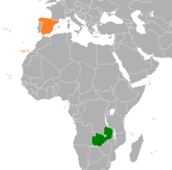 Map indicating locations of Spain and Zambia