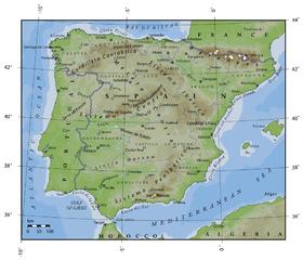 Carte topographique de la péninsule Ibérique.