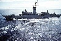 Spanish frigate Baleares (F-71) underway on 1 September 1981 (6353077).jpg