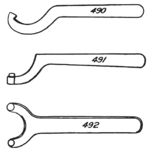 Spanner wrenches various kinds from Colvin and Stanley 1910 p64.png