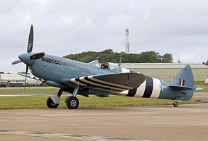 Air Force blue - A Spitfire PR Mk XI finished overall in PRU Blue/Air Superiority Blue