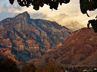 Wasatch Range - Squaw Mountain over Rock Canyon at sunset as seen from the campus of Brigham Young University in Provo.