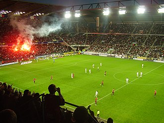 Flares of the Roazhon Celtic Kop at the Roazhon Park Staderennais-routelorient.JPG