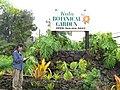 Starr-110307-2964-Monstera deliciosa-habit with Kim and entrance sign-Kula Botanical Garden-Maui (24783486340).jpg