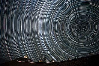Earth's rotation - Starry circles arc around the south celestial pole, seen overhead at ESO's La Silla Observatory.