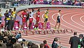 Start of the men's 110m hurdles final (7890497782).jpg