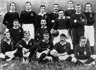 Queensland Reds - Queensland Rugby team 1899: Front row – F. Kent, S. Boland, W. Tannee, E. Currie, A. Colton. Centre – A. Gralton, C. S. Graham, R. McCowan (captain), T. Colton. Back row – W. Evans, P. Carew, T. Ward, W. H. Austin, A. Corfe, L. Dixon
