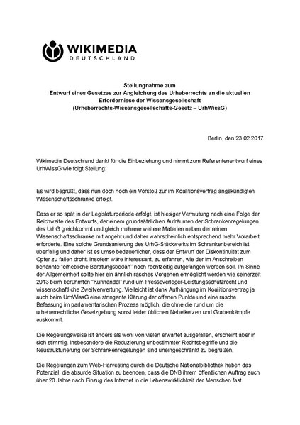 File:Stellungnahme zum Entwurf eines Gesetzes zur Angleichung des Urheberrechts an die aktuellen Erfordernisse der Wissensgesellschaft (Urheberrechts-Wissensgesellschafts-Gesetz – UrhWissG).pdf