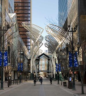 "Stephen Avenue - The steel ""Trees"" sculpture on Stephen Avenue, designed to reduce wind gusts between the buildings"