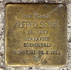Photo of Alfred Seidel brass plaque