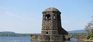 Twin Lakes (Connecticut) - Stone Tower in Washining Lake (east twin), near Camp Isola Bella.