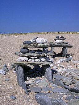 Stone sculptures on Loe Bar - geograph.org.uk - 223600