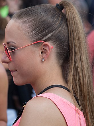 Ponytail - A woman's ponytail from the side