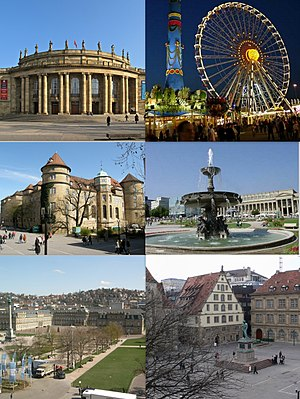 Top left: Staatstheater, Top right: View of Cannstatter Volksfest event in Bad Cannstatt. Middle left: Stuttgart's Old Castle at the Schillerplatz. Middle right: A fountain at Schlossplatz (Castle square), Bottom left:Stuttgart New Palace (Neues Schloss). Bottom right: Fruchtkasten façade built and Statue of Friedrich Schiller at the Schillerplatz