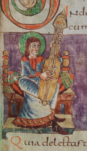 "Cythara - Paris, France. An instrument from the Stuttgart Psalter (France), early 9th century, labeled ""cythara"" in that text. Shown vertically here, most illustrations in the psalter show it played held in the arms horizontally, like a citole."