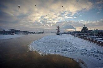 Neva River - Sunset over Neva river covered with ice