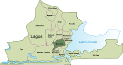 Local Government Areas of Lagos; Surulere highlighted