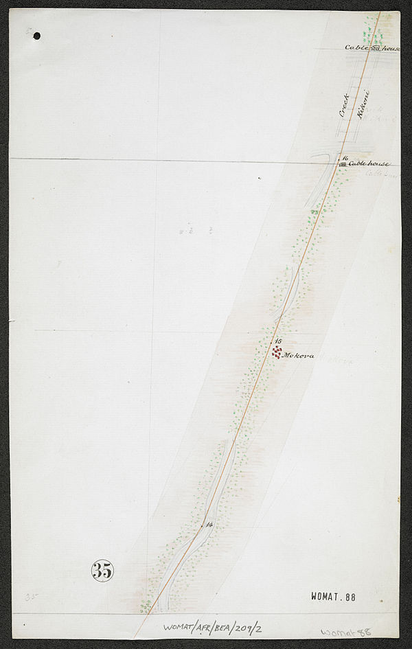 600px survey of telegraph line from melinde to lamu east africa. %28womat afr bea 209 2 35%29