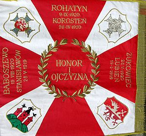 "God, Honour, Fatherland - ""Honor i Ojczyzna"" motto as seen on a military banner of an interwar Polish military unit, the 37th Infantry Regiment."