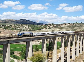 Talgo train on viaduct.jpg