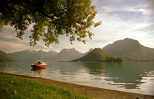 Lake Annecy - Image: Talloires , view of Lake Annecy, Kodacolor by Scott Williams
