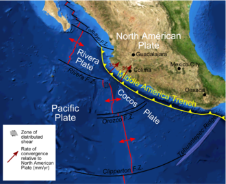 Rivera Plate - Plate boundaries in the Pacific, offshore western Mexico