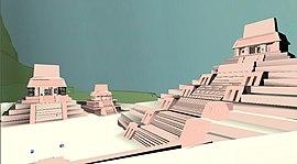 Imagem 3D do grupo de templos de Palenque ao qual se integra o Templo da Cruz.