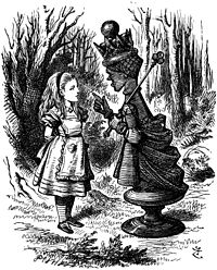 Rainha Vermelha e Alice em Through The Looking Glass, por Lewis Carroll