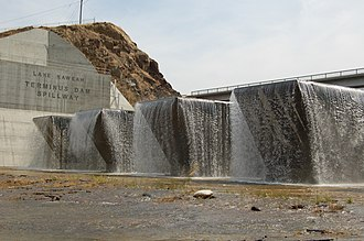 Terminus Dam - The fusegates at Terminus Dam are tested by high water in 2005