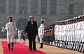 The Chancellor of Germany, Ms. Angela Merkel inspecting the Guard of Honour at the ceremonial reception, in New Delhi on October 30, 2007.jpg