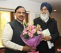 The Chief Minister of Punjab, Shri Parkash Singh Badal calling on the Minister of State for Culture (Independent Charge), Tourism (Independent Charge) and Civil Aviation, Dr. Mahesh Sharma, in New Delhi on February 13, 2015.jpg