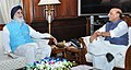 The Chief Minister of Punjab, Shri Prakash Singh Badal calling on the Union Home Minister, Shri Rajnath Singh, in New Delhi on May 29, 2015.jpg