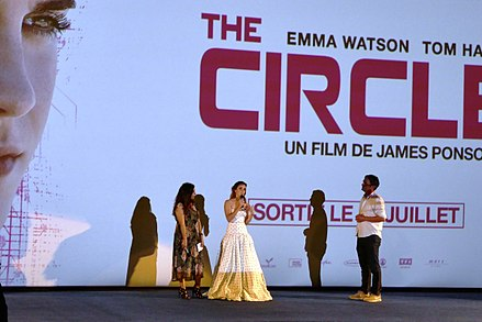 Watson (middle) at the Paris premiere of The Circle in June 2017 The Circle - Paris Premiere - Emma Watson.jpg