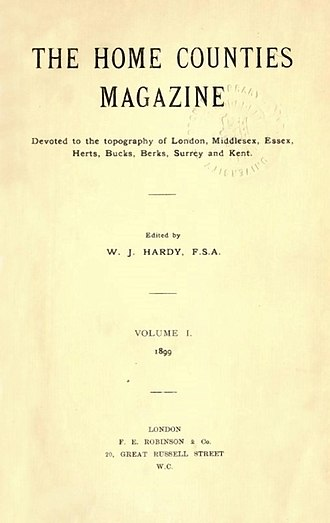 "Home counties - The Home Counties Magazine, 1899, a magazine ""of the ""topography of London, Middlesex, Essex, Herts, Bucks, Berks, Surrey, and Kent""."